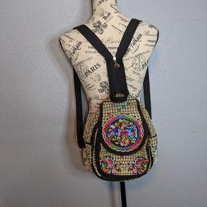 Boho Embroidered Mini Backpack